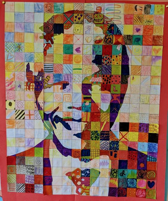 Y5/6 worked together to produce this amazing portrait of Nelson Mandela