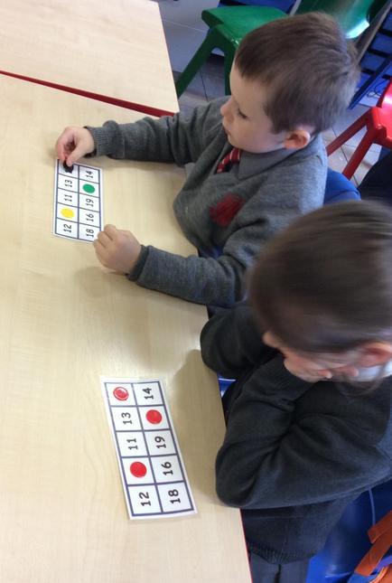 Playing Bingo.