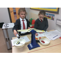 Comparing the weight of objects.
