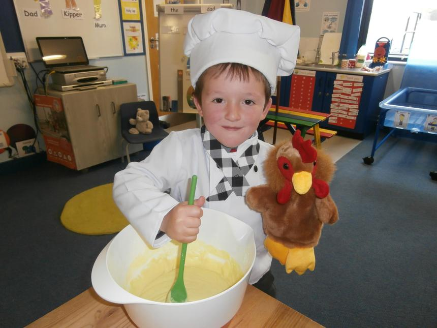 Making dough like the Little Red Hen!