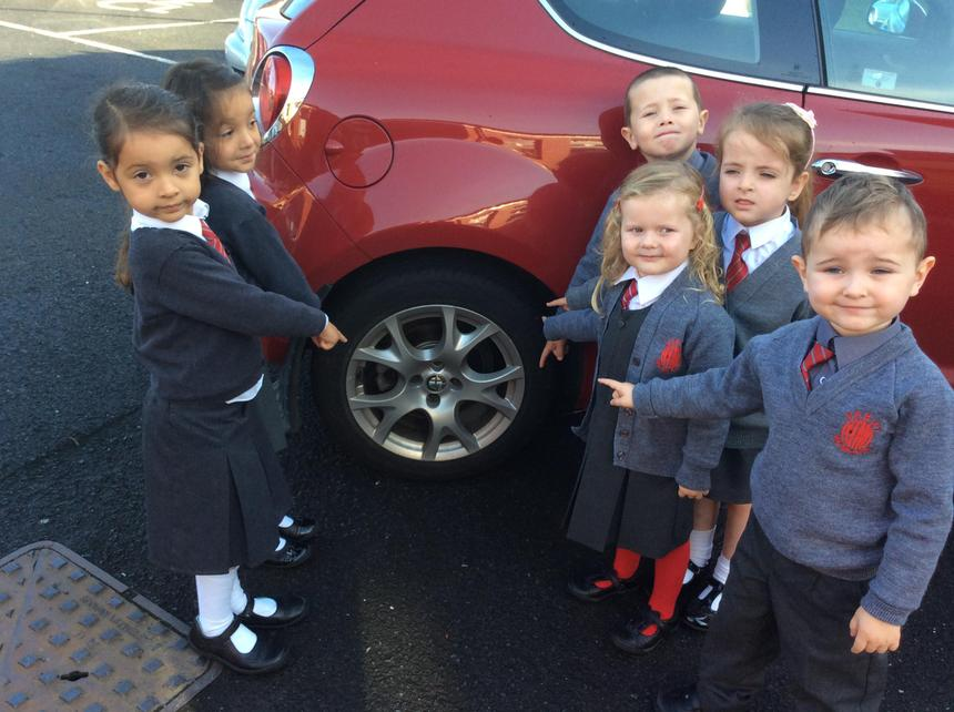 Look at the patterns on the car wheel!