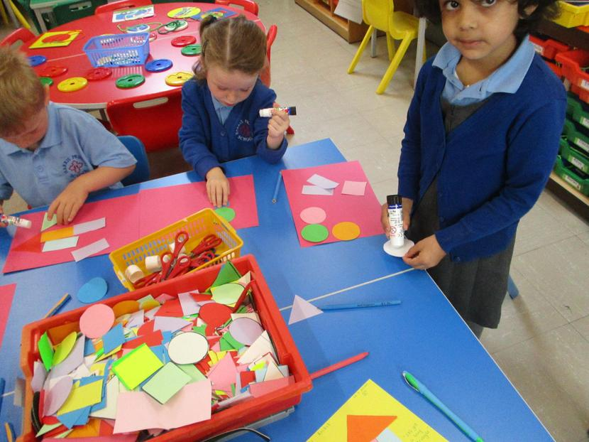 We made pictures using flat shapes.