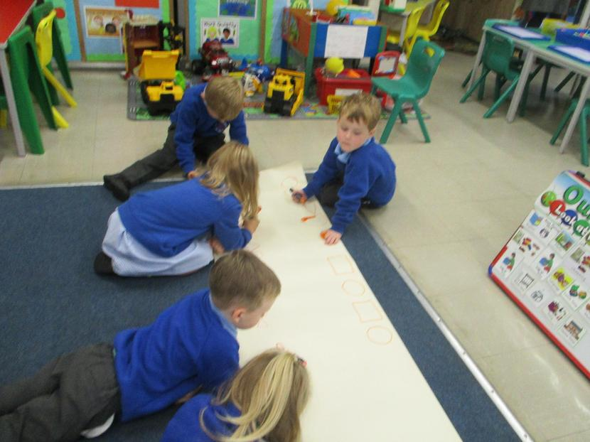 We worked together to make repeating patterns.