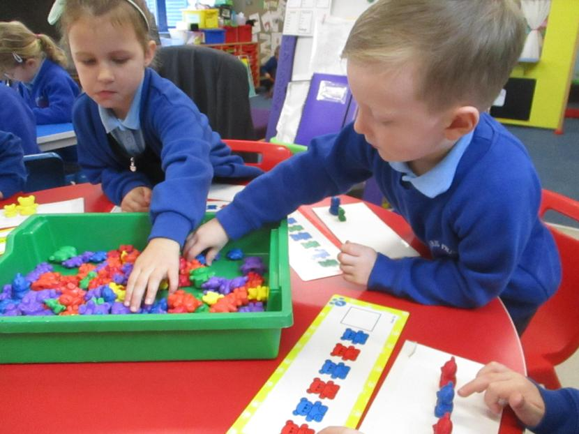 We made repeating patterns with bears.