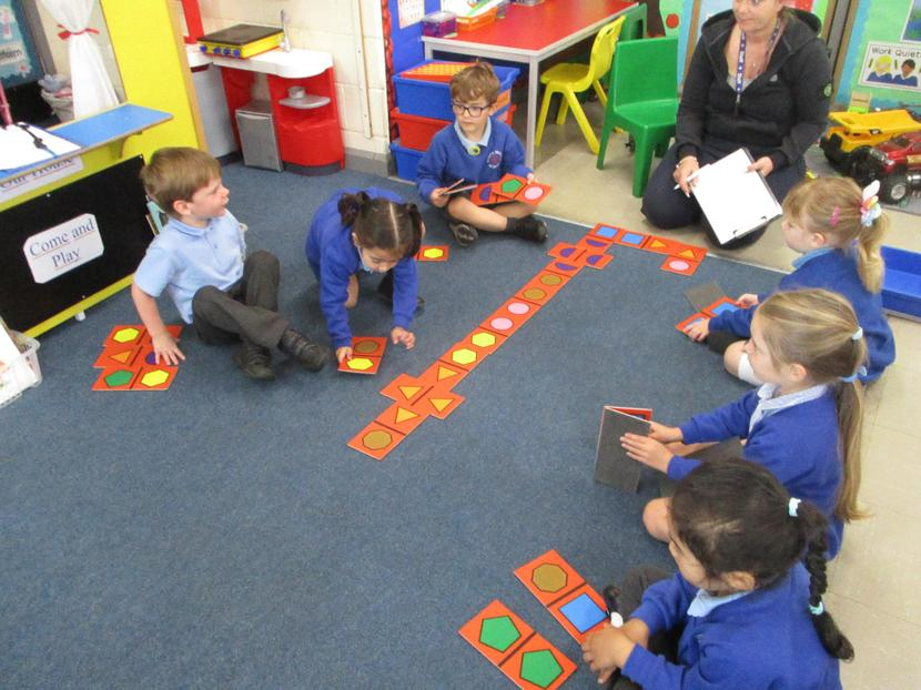 We played shape dominoes.