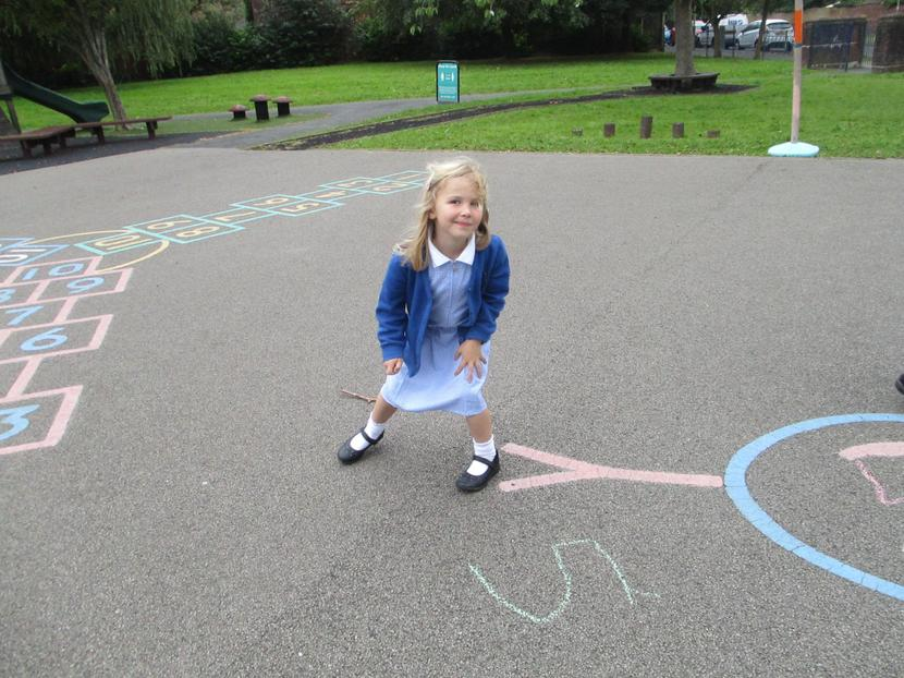 We have been writing numbers and number lines with chalks.