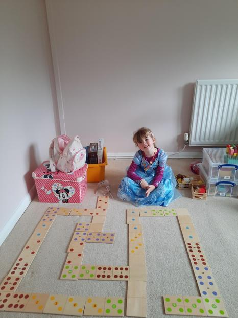 Lots of children have enjoyed playing dominoes today - including Elsa.