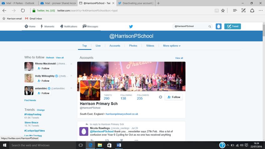 @HarrisonPSchool Twitter profile screen shot