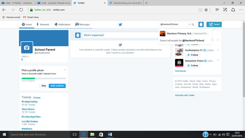 Twitter new account screen shot