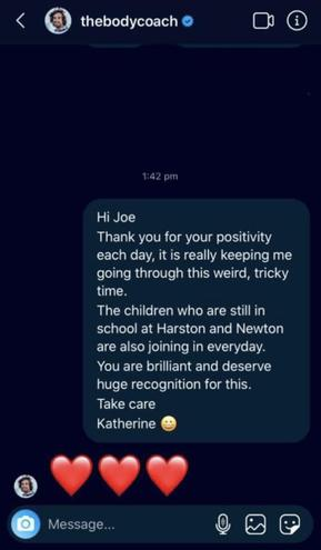 Look... Joe Wicks actually responded to my message