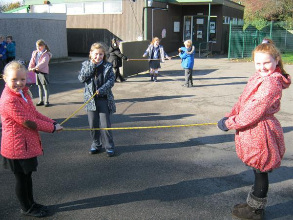 Making right angles with skipping ropes.