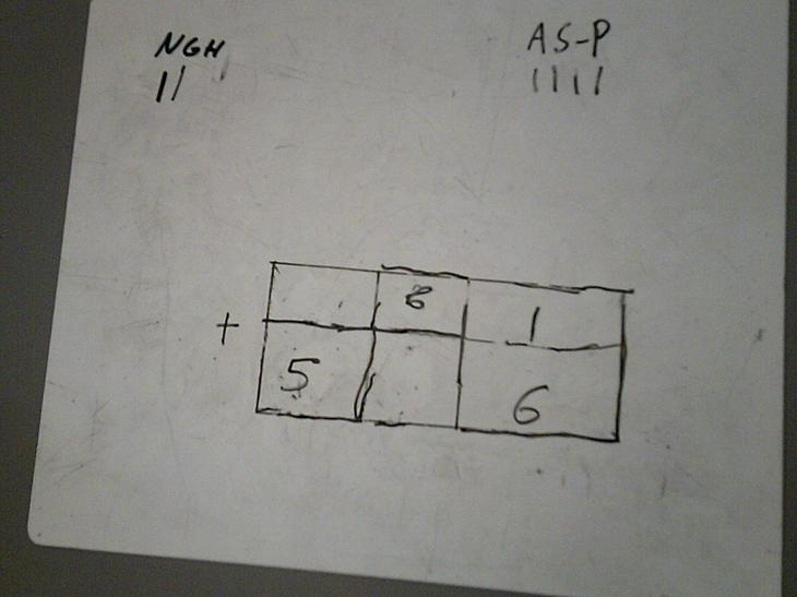 Using addition in a competitive game.