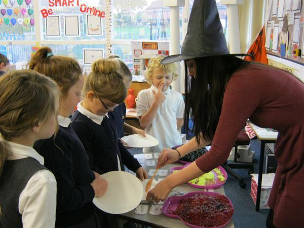 Buying the witch's ingredients.
