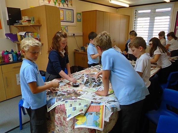 Paper mache volcanoes