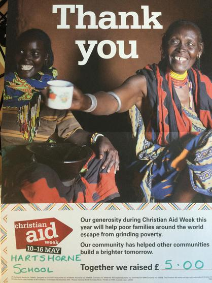 By donating in a bucket, we raised £5 May 2015