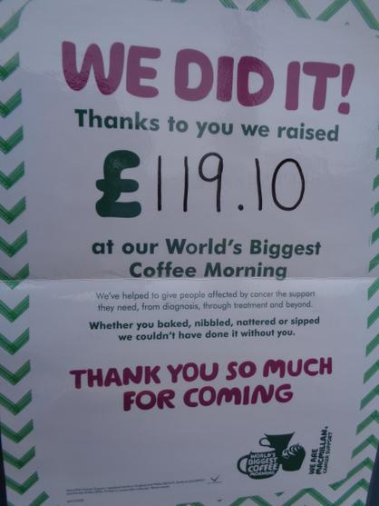 We had a coffee morning 25.9.15 and raised £119