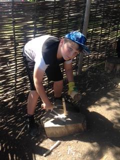 Maxim chopping wood