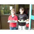 Harry and James with their WWI trench models