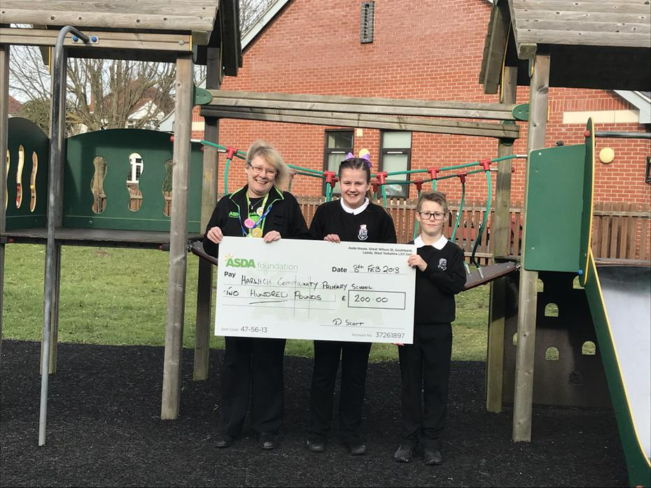 Receiving our cheque for £200