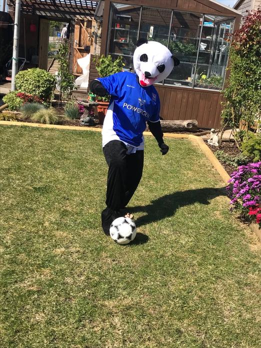Play football in his garden