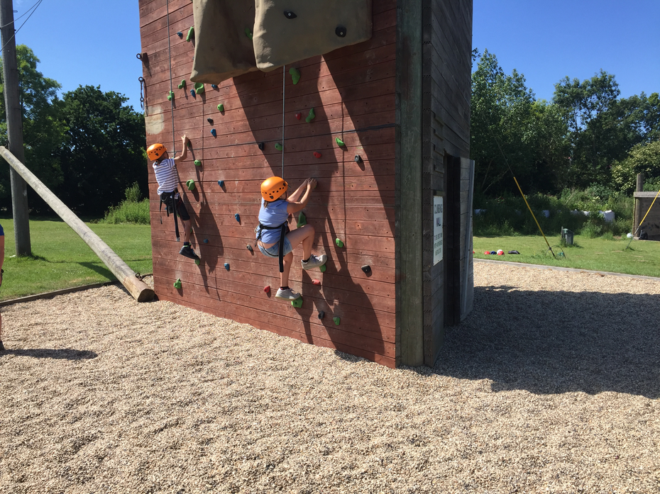 Being brave and climbing the wall