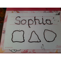 Sophie has been practising writing her name