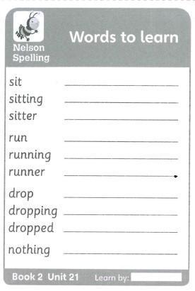Weekly spellings for test on 26.04.21
