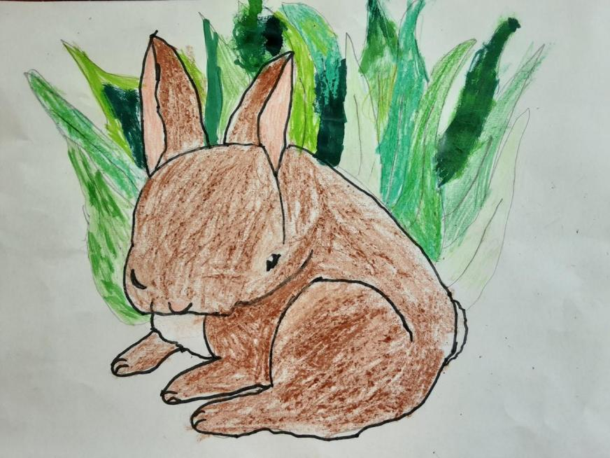 Following a drawing workshop to create this bunny.