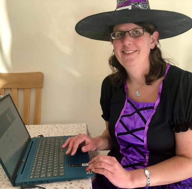Mrs King dressed up to do her online teaching at home.