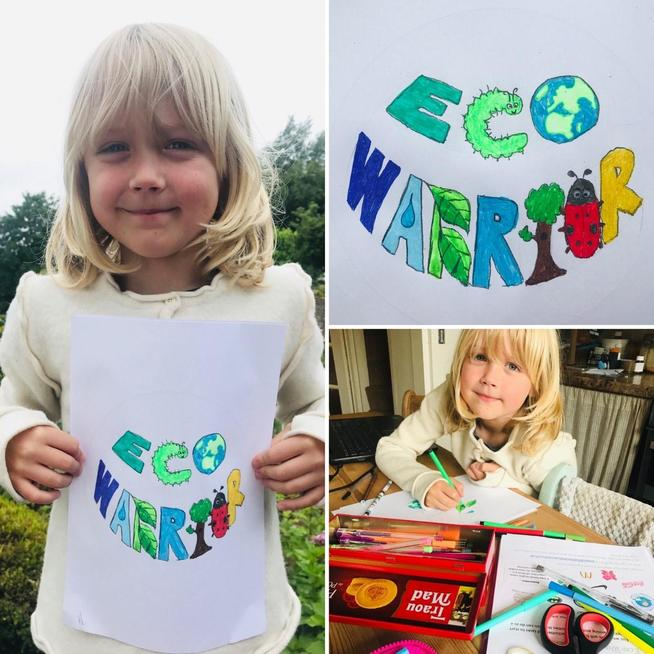 Working on his Eco Warrior logo