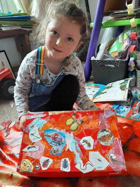 A decorated 'secrets' box using cut out pictures