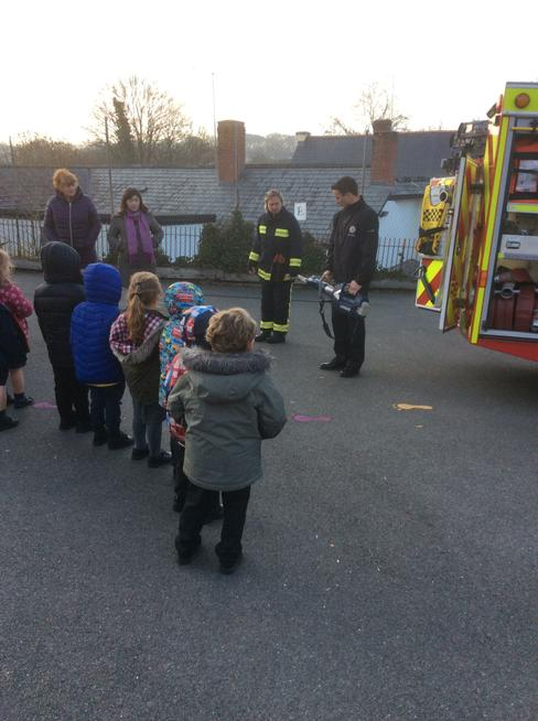 Fire engine visit for people who help us topic