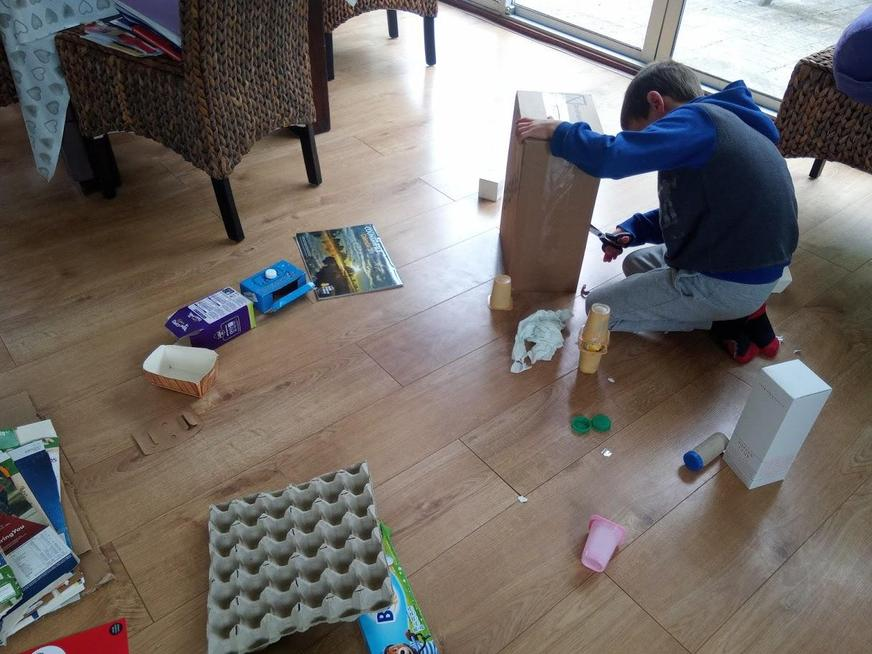 Re-using items to make his creation