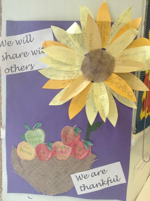 Each child wrote things they were thankful for.