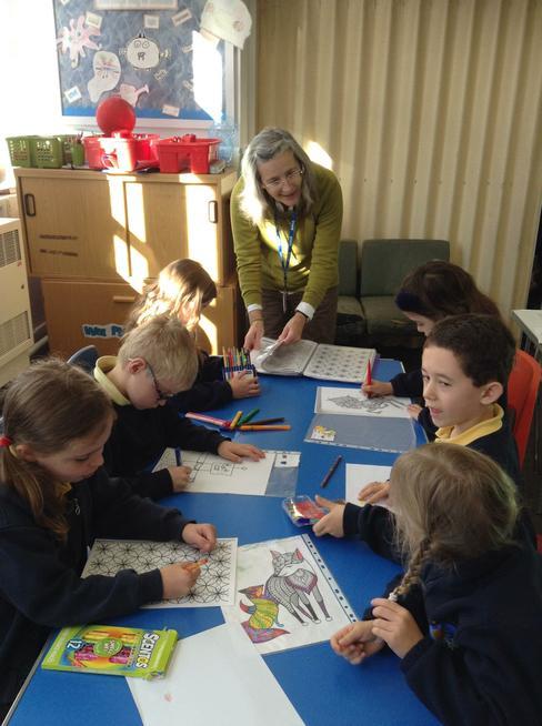 Mrs Fairgrieve runs Drawing Club on Tuesday.