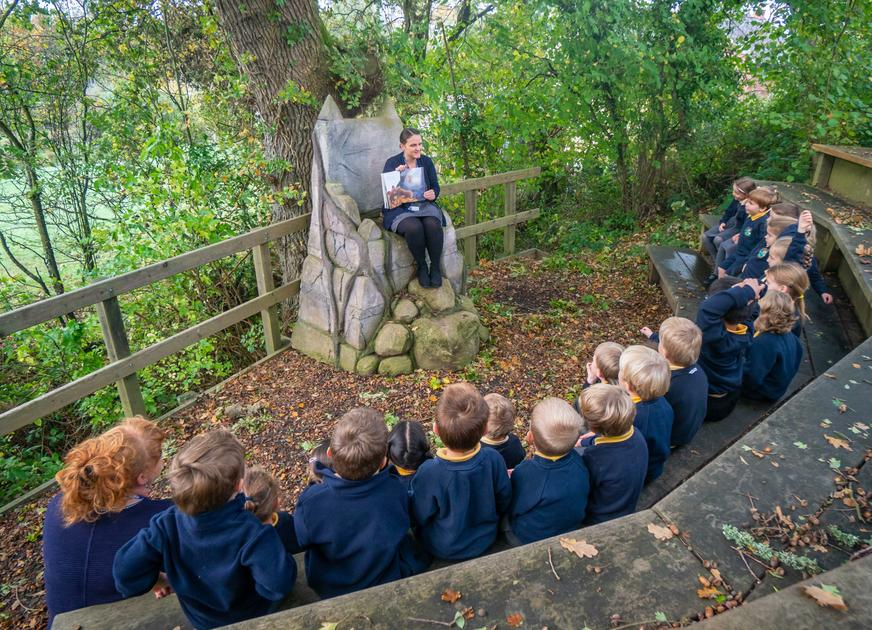 Chestnuts enjoying a story in our Woodland area.