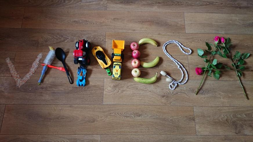 Name art using objects from home