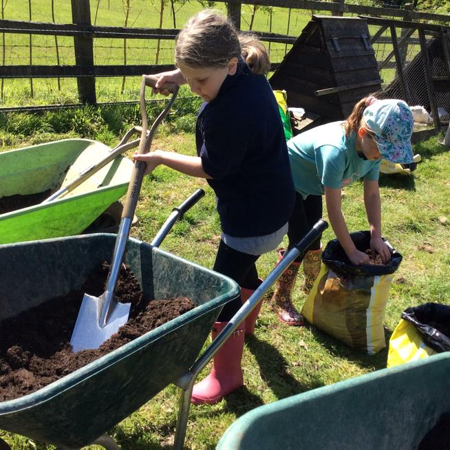 Preparing the compost.
