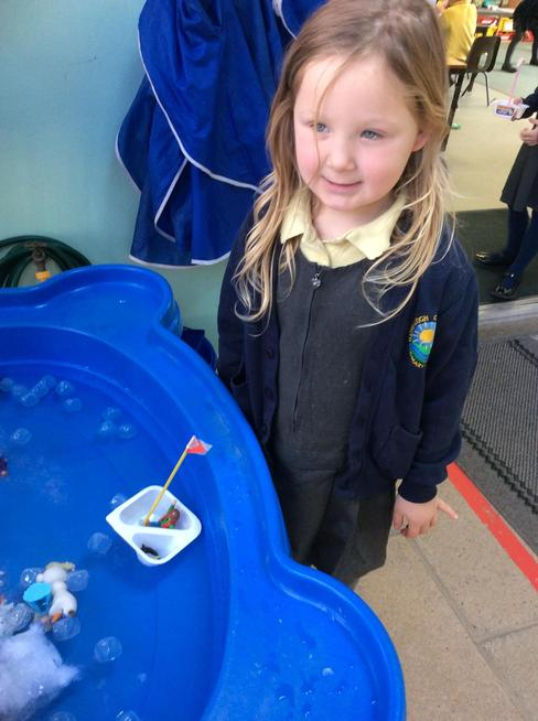 Chestnuts Class made boats to carry a penguin linked to the story 'Lost and Found'