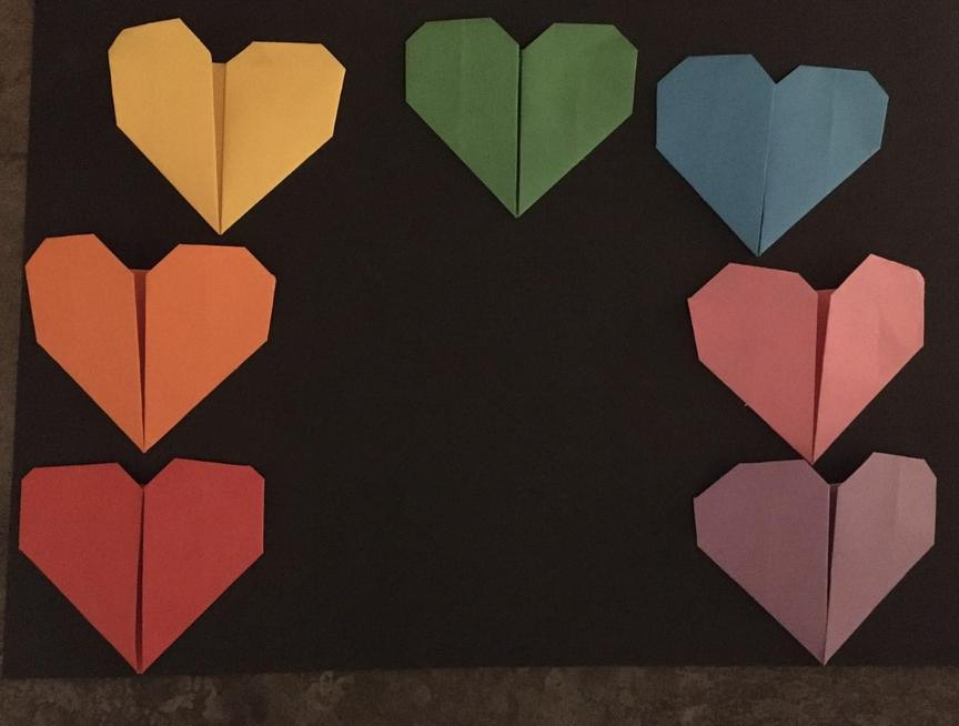 Dee's origami heart rainbow