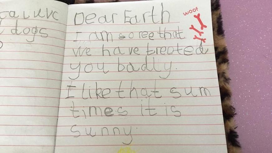 Freddie's letter to the Earth.