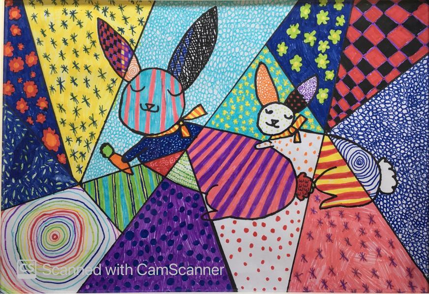 Emily's picture inspired by Romero Britto