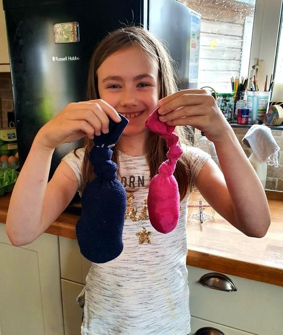 Up-cycling socks to make dog's toys