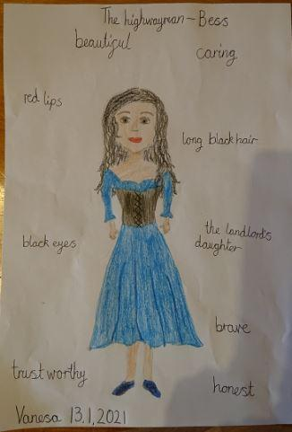 Vanesa's drawing linked to the Highwayman