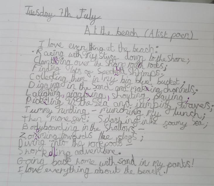 Beach List poem