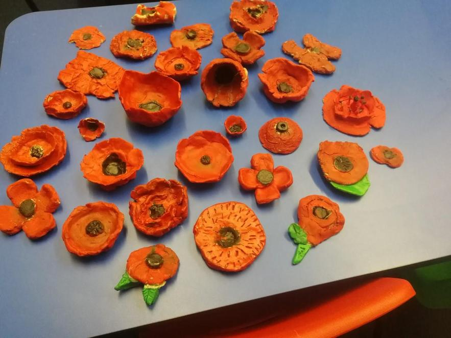 Our Poppies made out of clay