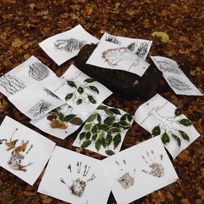 Childrens natural art work .