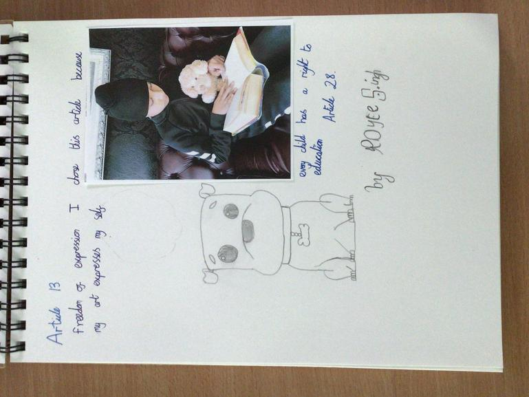 Royce in Y5 chose to share Articles 13 and 28 with Bailey. Super art work Royce!