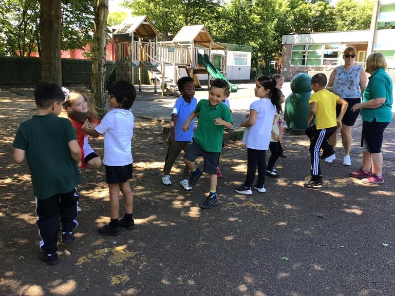 Mrs Leddy taught us how to dance like morris dancers!