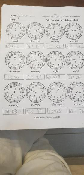 Eiman has been busy practising telling the time .